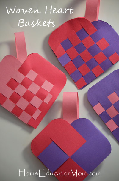 How To Make A Woven Heart Basket : Construction paper craft homeeducatormom